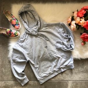 Honey Punch Grey Oversized Hoodie Asymmetrical